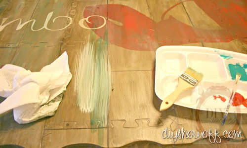 kitchen mat, do it yourself, red, turquoise, aged, distressed, DIY tutorial