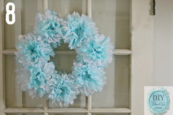 tissue paper poof wreath