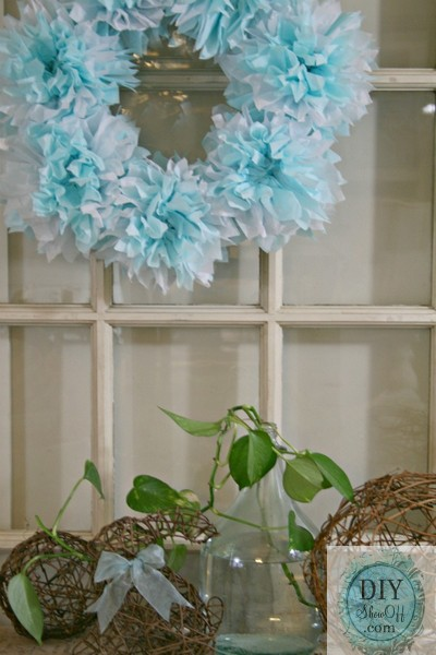 tissue paper poof wreath