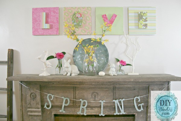 farmhouse mantel - spring