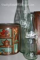 vintage tin and Coke bottles