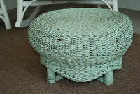 aqua wicker, footstool