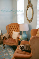 orange wing back chairs