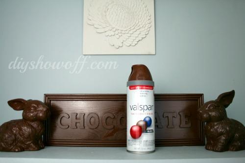 faux chocolate decor, Valspar spray paint