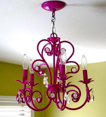 magenta chandelier
