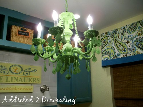 green chandelier