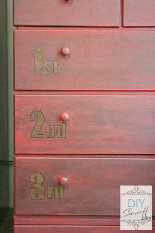 aged distressed red dresser