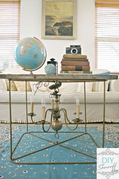 DIY chandelier coffee table