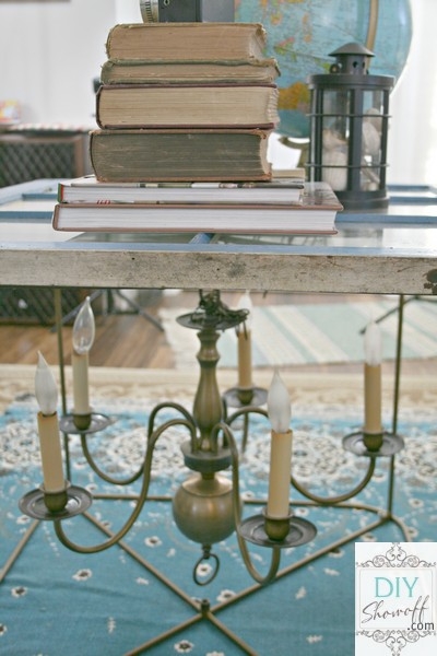 repurposed chandelier coffee table