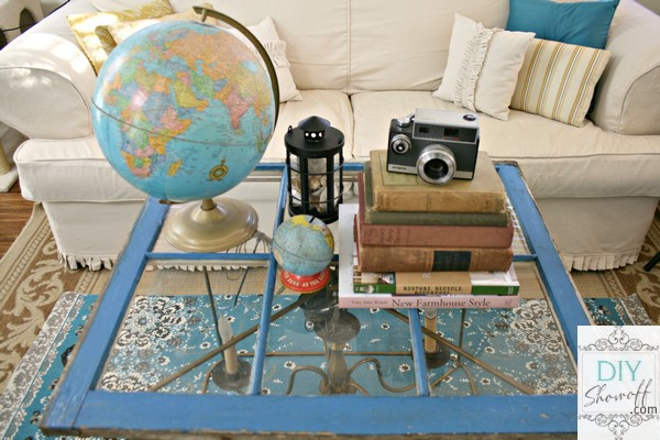 old window, books and globes