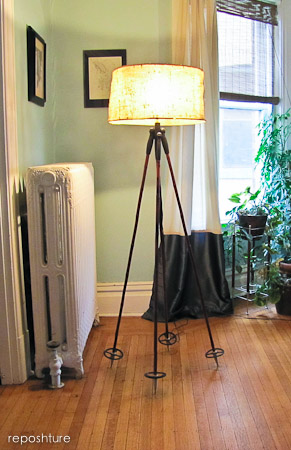 ski pole tripod lamp