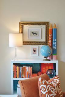 blue and orange home decor