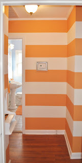 orange and white striped walls