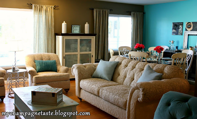 Teal Accent Wall Dining Room Native Home Garden Design