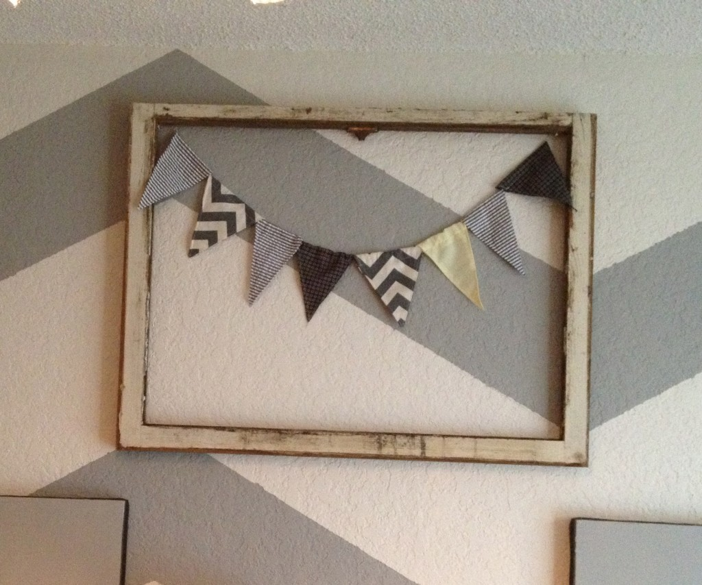 old window and bunting wall art