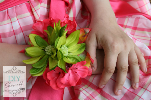 DIY coral and lime wrist corsage