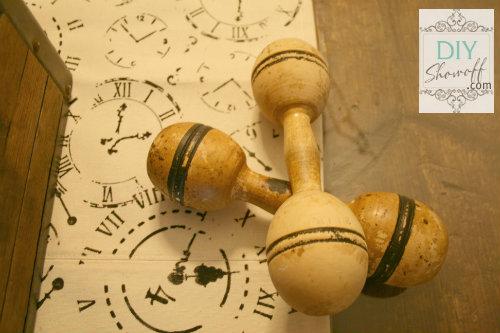 vintage wooden dumbbells