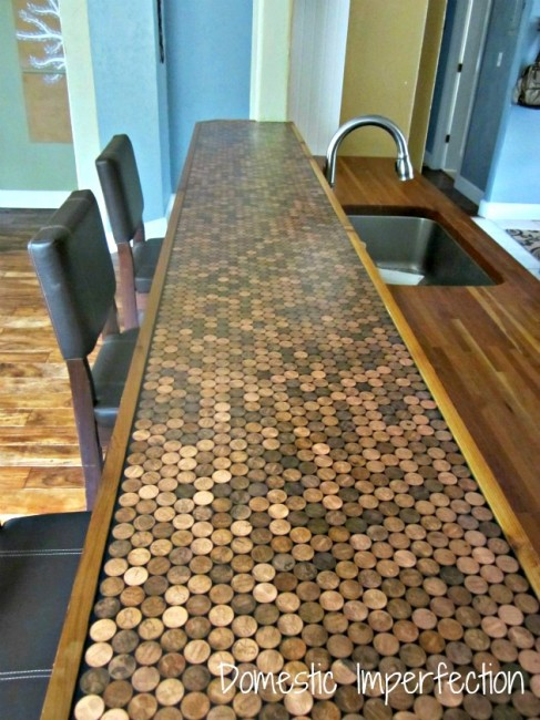 DIY penny countertop
