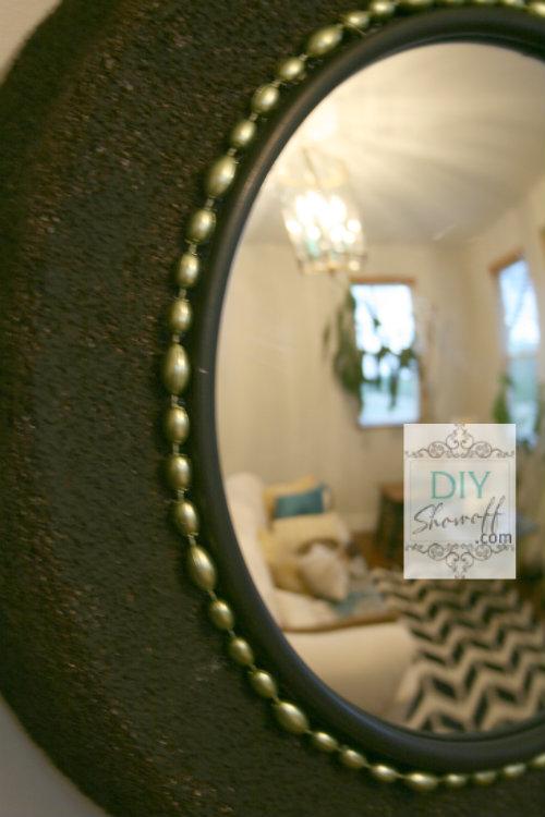 beaded detail on DIY convex mirror