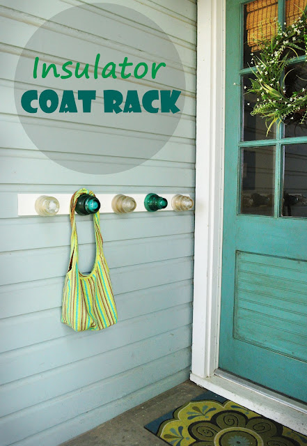 DIY insulator coat rack