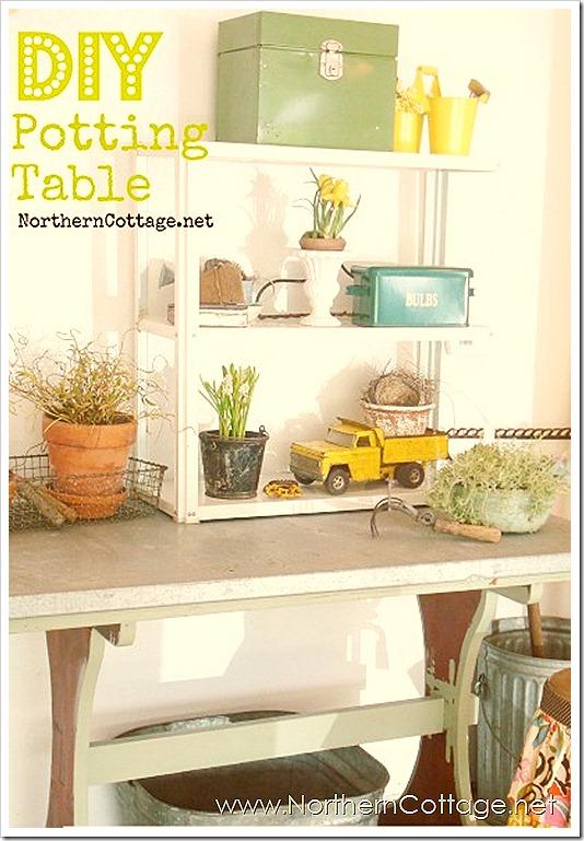 diy cottage potting table