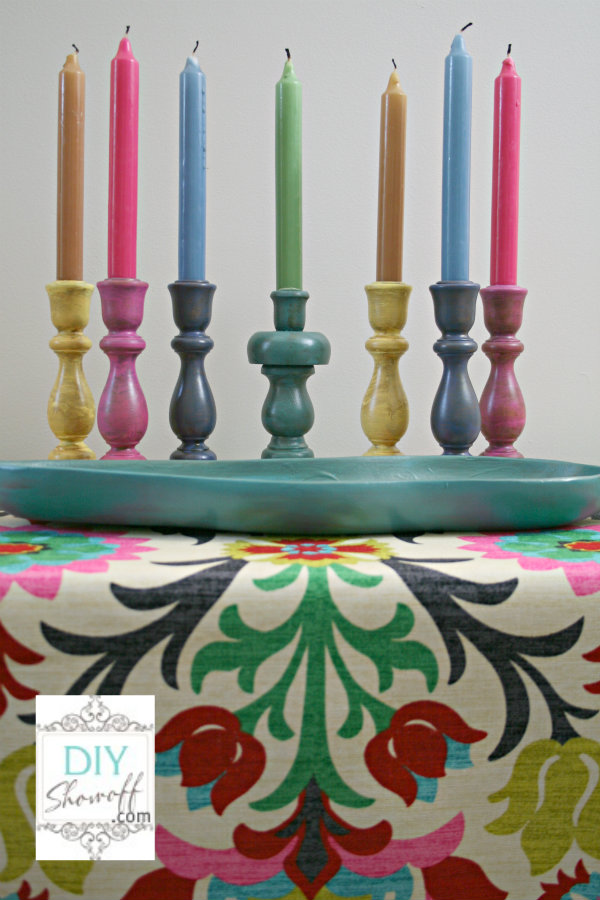 colorful DIY candlesticks