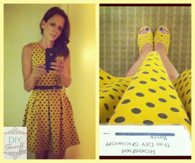 Roeshel yellow/black polka dot dress