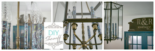 decoupaged candle chandelier