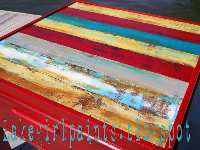 striped textured painted accent table