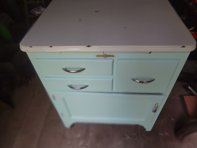antique blue cabinet makeover