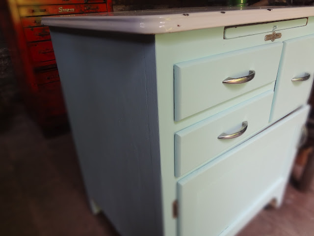 antique blue cabinet