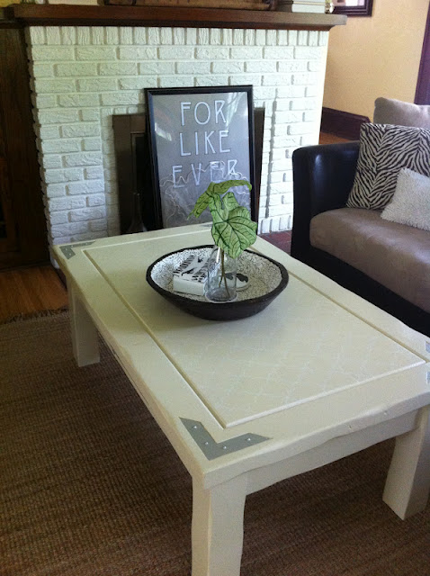 painted stenciled coffee table