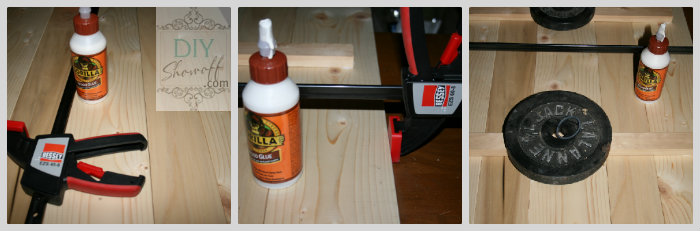 glue and clamp boards