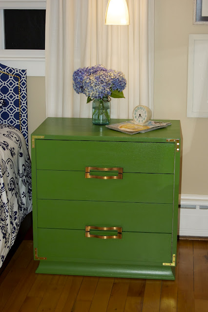 green painted nightstand