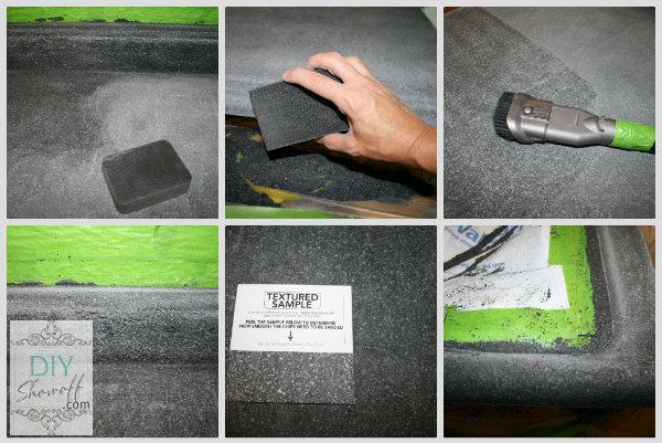 sanding and vacuuming countertop