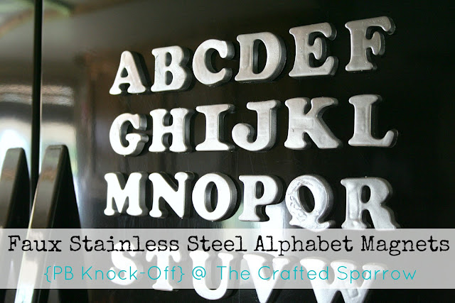 DIY faux stainless steel alphabet magnets
