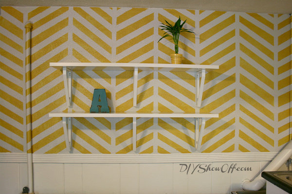 How to Paint and Stencil a Herringbone Accent WallDIY Show Off ...