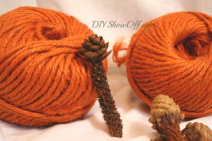 yarn balls and pinecones