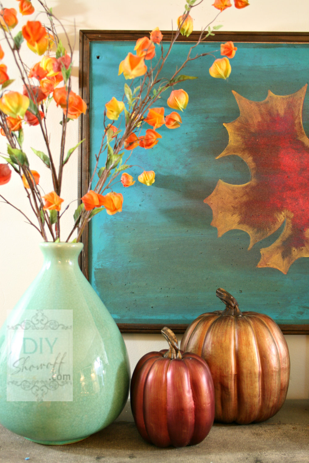 red teal fall decorating