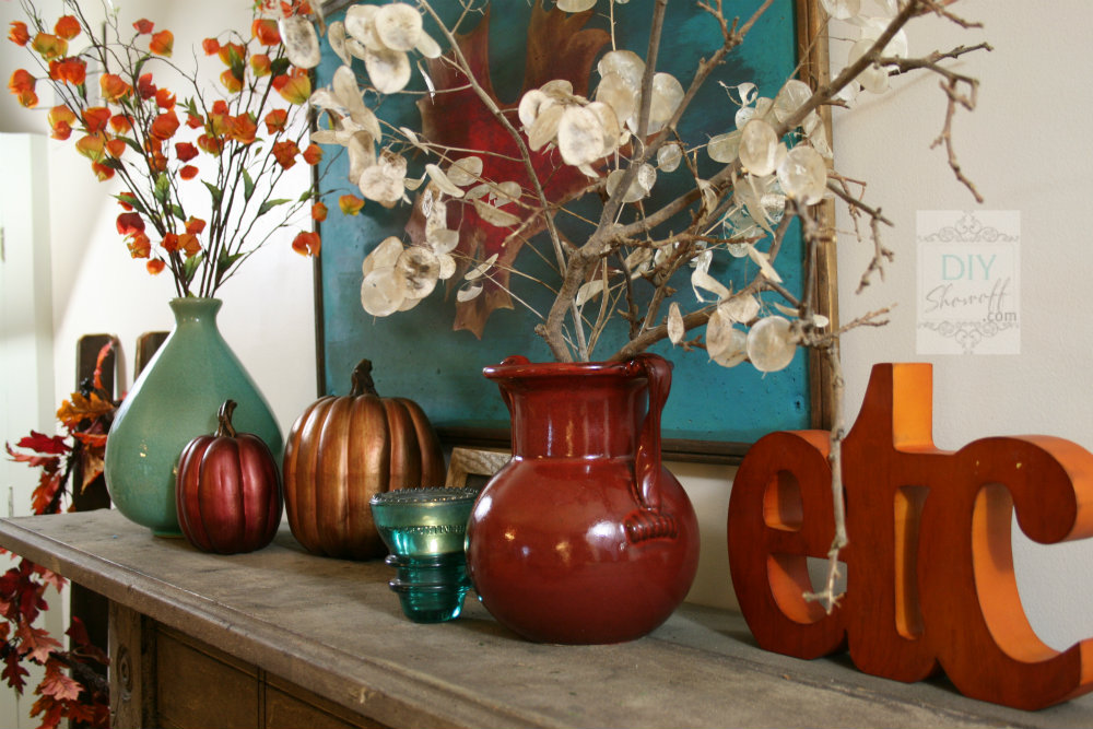 Autumn warmth red and turquoise fall manteldiy show off - Orange and teal decor ...