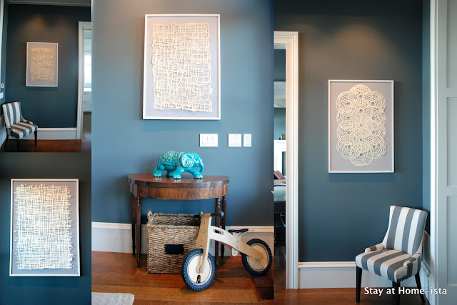 DIY linen and paper wall art - Stay at Home-ista