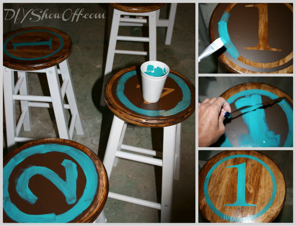 painting stenciled barstools