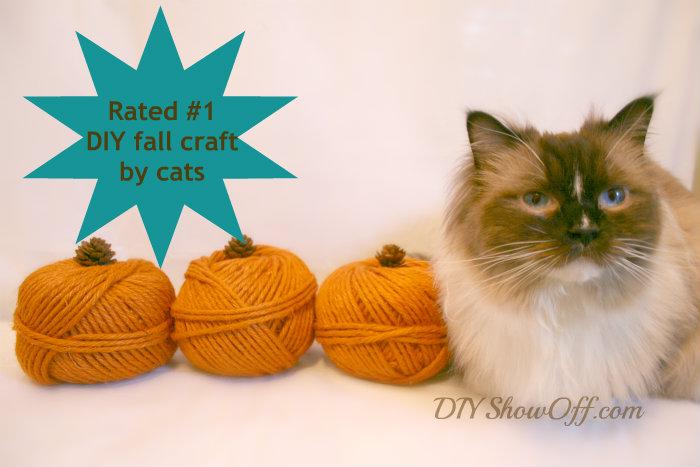 DIY decorative yarn pumpkins