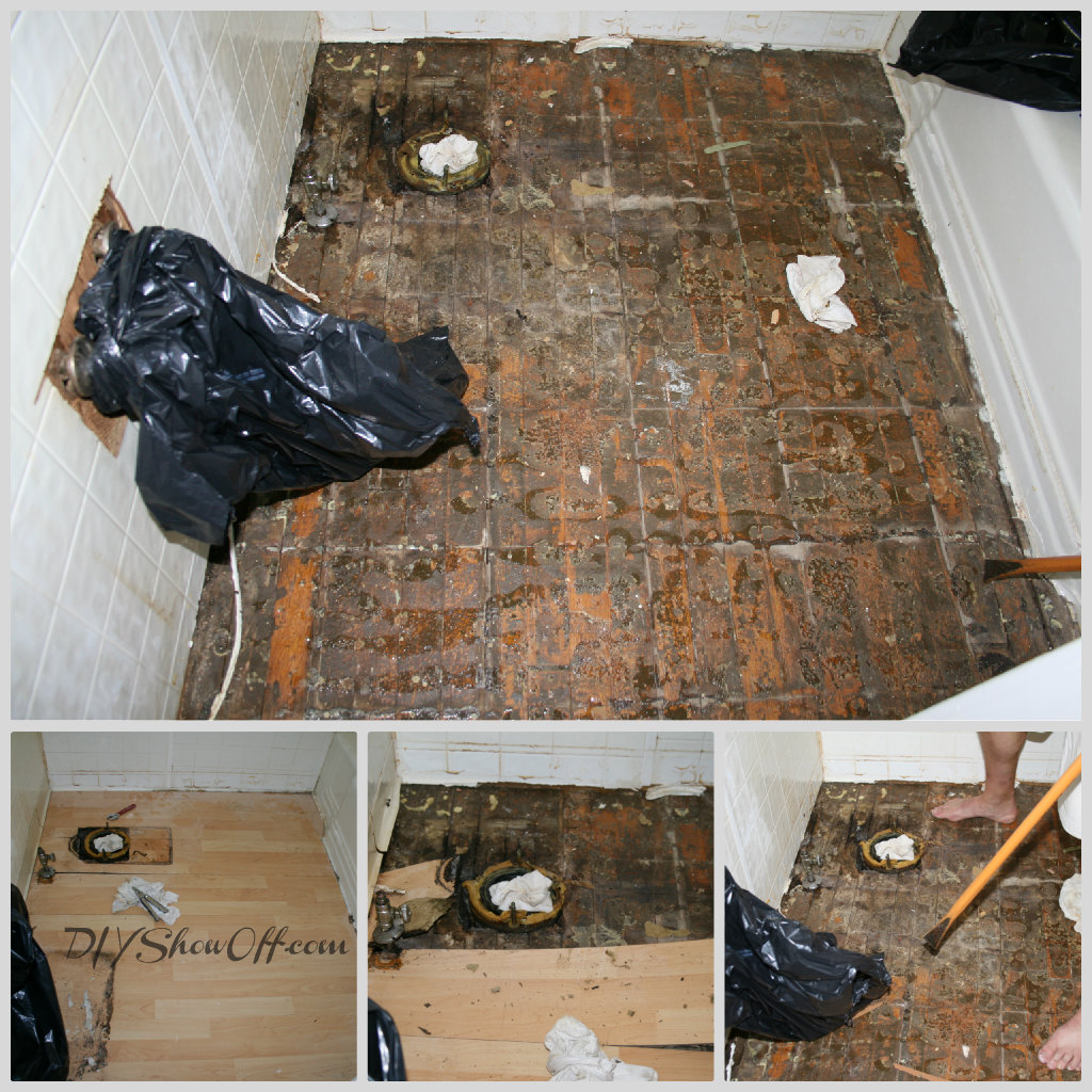 bathroom floor before