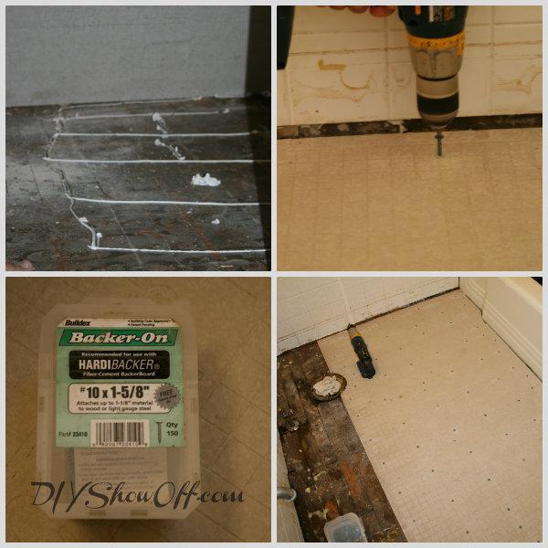 screwing Hardiback to existing floor