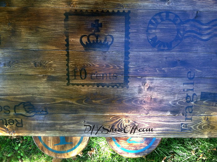 stenciled stained plank table top