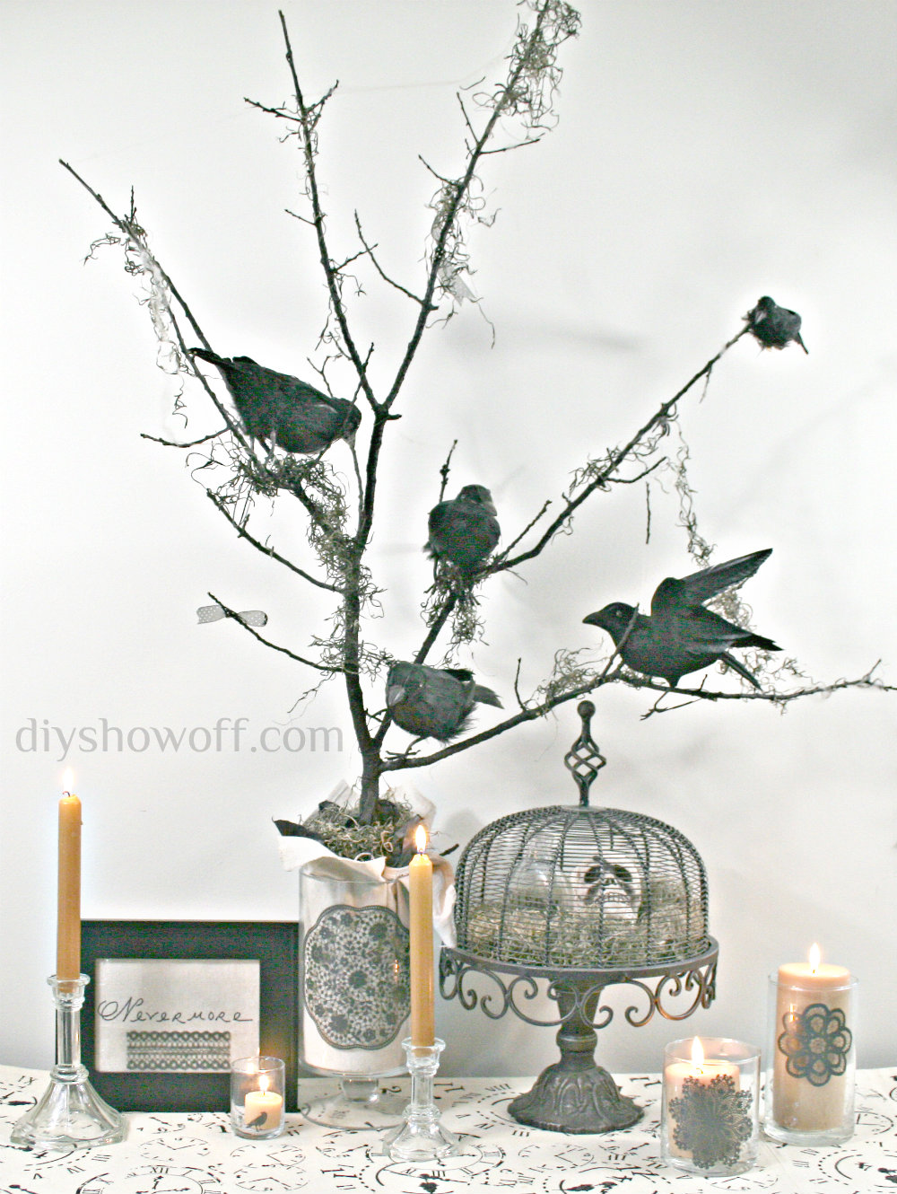 Tree branches for crafts - Diy Halloween Nevermore Tree