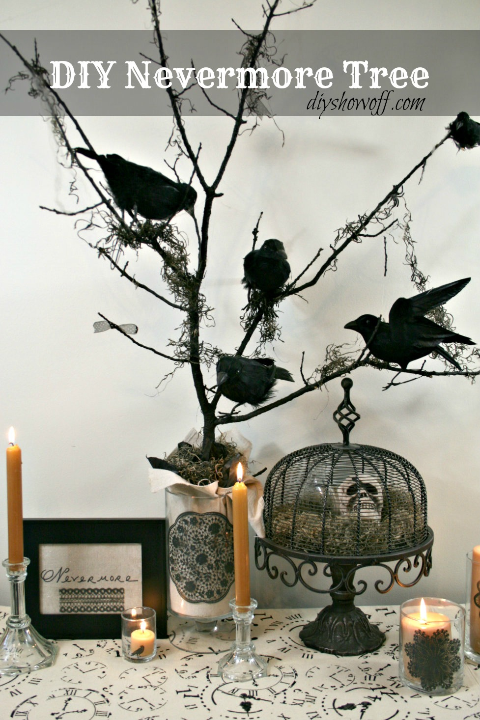 diy halloween nevermore tree decordiy show off diy decorating and home improvement blog. Black Bedroom Furniture Sets. Home Design Ideas