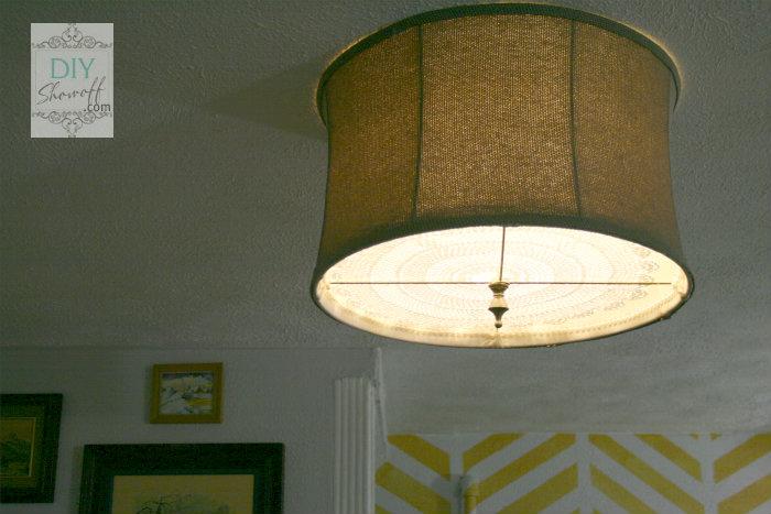 DIY drum shade light lit