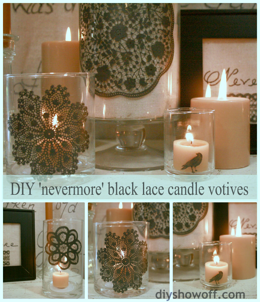 DIY nevermore black lace candle votives